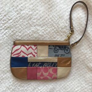 Coach Wristlet Gold Patchwork